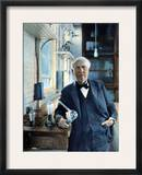 Thomas Edison (1847-1931). Photographed With His 'Edison Effect' Lamps in 1915 Framed Photographic Print