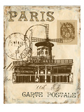 Paris Collage IV - Moulin Rouge Giclee-tryk i høj kvalitet af Gregory Gorham