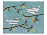 Aqua Songbirds II Giclee Print by Jeni Lee