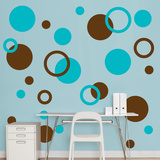 Brown & Turquoise Polka Dots Wall Decal