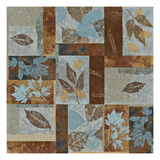 Blue Fusion II - Geometric Leaves in Blue and Brown Giclée-Druck von Jeni Lee