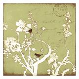 Song Birds II - Green Reproduction procédé giclée par Amy Melious