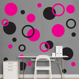Black & Hot Pink Polka Dots Wall Decal