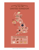 United Kingdom by Regional Fried Breakfasts Posters by Stephen Wildish