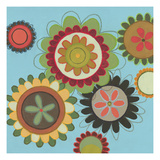 Zinnia Awesome II - Abstract Flowers on Blue Poster by Jeni Lee