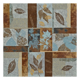 Blue Fusion I - Geometric Leaves in Blue and Brown Giclee Print by Jeni Lee
