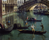 Gondoliers near the Rialto Bridge Autocollant mural par Canaletto