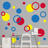 Red, Yellow, Blue Polka Dots Wall Decal