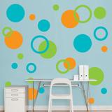 Orange, Green, Turquoise Polka Dots - Duvar Çıkartması