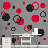 Black &amp; Red Polka Dots Wall Decal