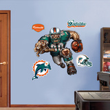 Miami Dolphins Die Cut RB Liquid Blue Wall Decal