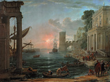 Seaport with the Embarkation of the Queen Wall Decal by Claude Lorrain