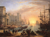 Sea Port at Sunset Wall Decal by Claude Lorrain