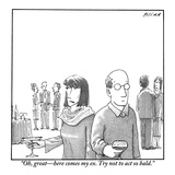 """""""Oh, great—here comes my ex, try not to act so bald..."""" - New Yorker Cartoon Premium Giclee Print by Harry Bliss"""