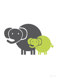 Lime Baby Elephant Prints by  Avalisa