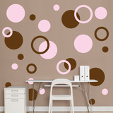 Brown & Pink Polka Dots Wall Decal