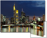 Frankfurt Main Skyline Abend Kunstdrucke von Rolf Fischer