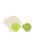 Lime Baby Sheep Prints by  Avalisa