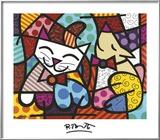 Happy Cat and Snob Dog Prints by Romero Britto