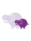 Purple Baby Elephant Art by  Avalisa