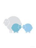 Aqua Baby Sheep Prints by  Avalisa