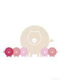 Pink Baby Pigs Prints by  Avalisa