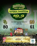 Baylor University Lady Bears 2012 NCAA Women's Final Four College Basketball National Champions Com Photographie