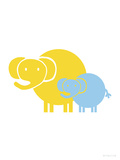 Blue Yellow Baby Elephant Posters by Avalisa