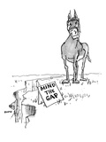 """A horse approaches a large crack in the ground. A sign reads, """"Mind the Ga - New Yorker Cartoon Premium Giclee Print by George Booth"""