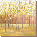 Yellow and Green Trees (center) Stretched Canvas Print by Libby Smart