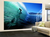 "Surfing the Tube at ""Dunes,"" Noordhoek Beach, Cape Town, South Africa Mural (grande) por Paul Kennedy"