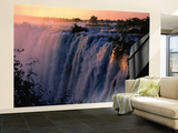 Victoria Falls at Sunset from Zambia, Victoria Falls, Zambia Wall Mural – Large by Dennis Johnson