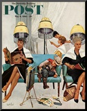 """Cowboy Asleep in Beauty Salon,"" Saturday Evening Post Cover, May 6, 1961 Mounted Print by Kurt Ard"