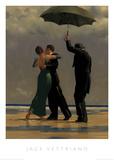 Danseres in smaragdgroen, dansend paar aan strand Print van Vettriano, Jack