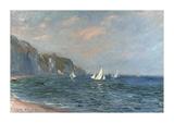 Falaises et Voiliers a Pourville Premium Giclee Print by Claude Monet