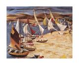 Hayling Island (Regatta 1951) Premium Giclee Print by John R Barker