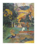 Landscape with Peacocks Premium Giclee Print by Paul Gauguin