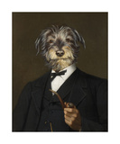 Cairn Terrier With A Pipe Premium Giclee Print by Thierry Poncelet
