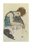 Seated Woman With Bent Knee Ensiluokkainen giclee-vedos tekijn Egon Schiele