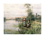 By the River Premium Giclee Print by Louis Aston Knight