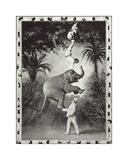 Balancing An Elephant! Premium Giclee Print