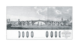 Design for a Bridge with a Centre Arch of Iron Premium Giclee Print by James Basire