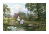 Feeding the Ducks Premium Giclee Print by Henry John King