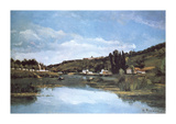 The Marne at Chennevieres Premium Giclee Print by Camille Pissarro