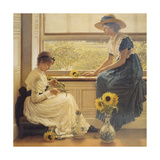 Sun and Moon Flowers Premium Giclee Print by George Dunlop Leslie
