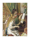 Two Girls at piano Premium Giclee Print by Pierre-Auguste Renoir