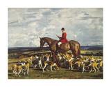 Stanley Barker et ses chiens à Pytchley Reproduction giclée Premium par Sir Alfred Munnings