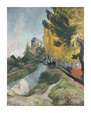 Walking in Autumn Premium Giclee Print by Paul Gauguin
