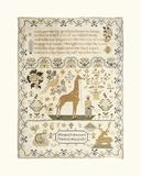 Sampler with Giraffe Premium Giclee Print by Elizabeth Mastern