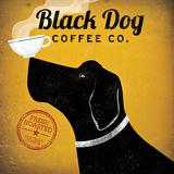 Sort hund, kaffereklame, på engelsk Posters af Ryan Fowler
